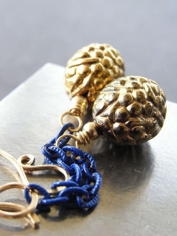 On Sale - Earrings - goldfill, vintage glass, vintage enamel chain, nautical design - In the Navy  (( last ones ))