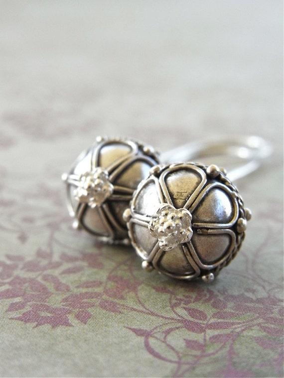 Earrings - sterling silver, Balinese silver - Silver Lotus