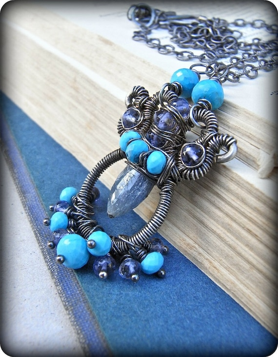 Necklace - sterling silver, oxidised, turquoise, iolite, sapphire, gemstone, wire wrapped necklace - Talisman