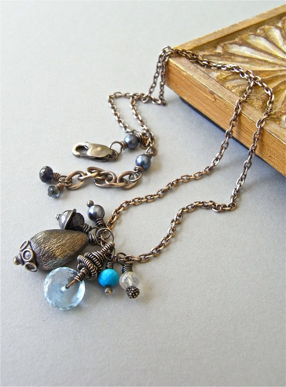 Necklace - sterling silver, wire wrapped, oxidised, Akoya saltwater pearl, blue topaz, moonstone, iolite, turquoise - Rockpool Hunting