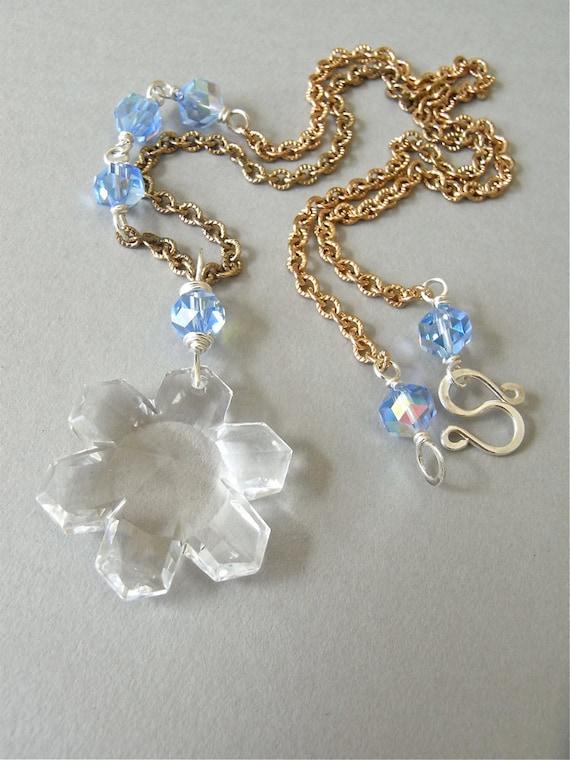 On Sale - Necklace - vintage crystal, brass, sterling silver, snowflake pendant - Bentley