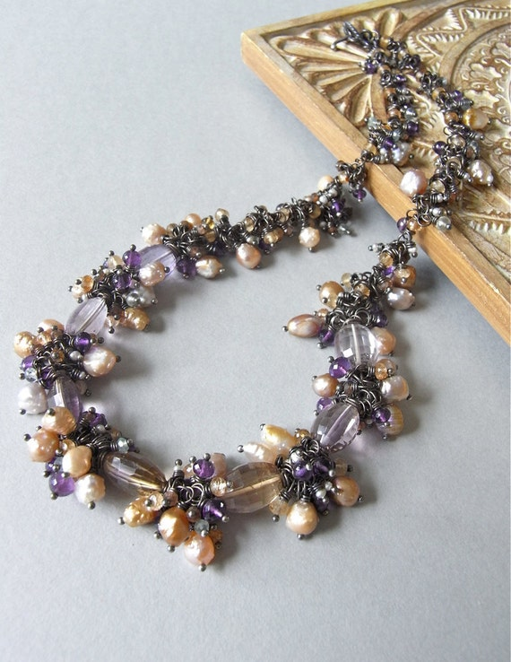 Necklace - sterling silver, ametrine, amethyst, freshwater pearls, golden rutile quartz, fluorite, andalusite - The Turning Wisteria