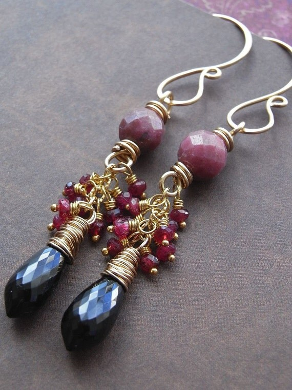 Black Cherry - RESERVED for lesadraws - spinel, rhodonite, vermeil and goldfill earrings