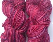 Hand dyed SUPERWASH merino sock yarn - Mulberry
