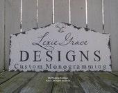 CUSTOM BUSINESS SIGN, Fleur De Lis, Shabby Chic Business Sign, Home Office Sign, Office Sign, Rustic Business Sign, Logo Sign