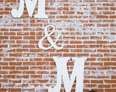 LARGE WOODEN LETTERS,  Vintage Cut Out Letters, Includes Two Letters and One  Ampersand Symbol, Any Letters, Any Color, Shabby Chic Letters