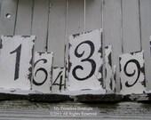 Vintage WEDDING TABLE NUMBERS - Set of 12....Rustic Wedding, Wooden Table Numbers