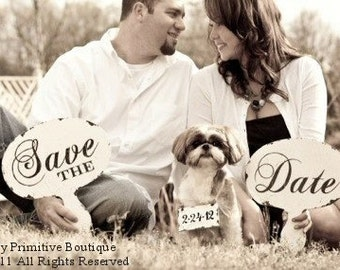 Save the Date Signs with Dog Sign. Photo Props. Rustic Save the Date Sign. Save the Date Cards. Wedding Sign. Wedding Decor.