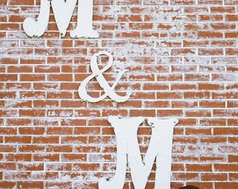 LARGE WOODEN LETTERS |  2 Wooden Letters | Ampersand | Wedding Guest Book | Wooden Wedding Letters | Rustic Wedding Decor | Wall Letters