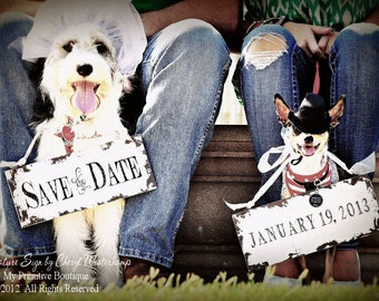 Save The Date Signs for the Dogs. Photo Props. Rustic Save The Date. Rustic Wedding. Save the Date. Wedding Sign.