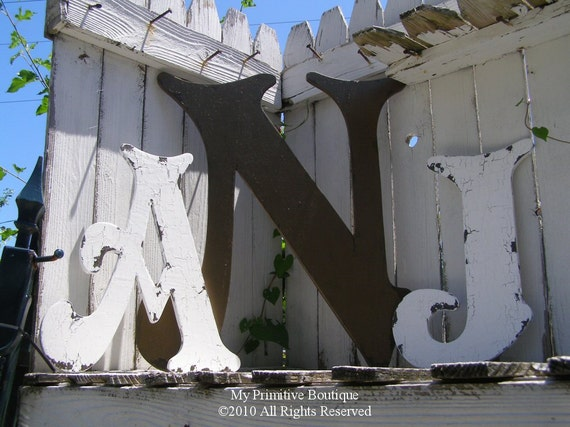 LARGE WOODEN LETTER Special, Two 16 inch letters and One 24 inch letter, Shabby Chic Distressed Letters,  Monogram, Initials, Guest Book