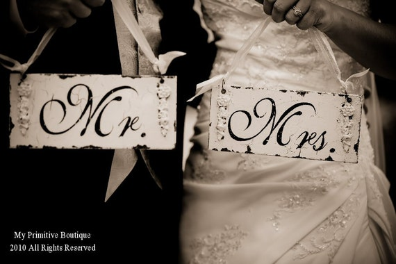 MR AND MRS Signs   Shabby Chic Wedding Signs   Chair Signs   Bride and Groom Signs   Vintage Inspired Wedding Decor   Set of 2   Distressed