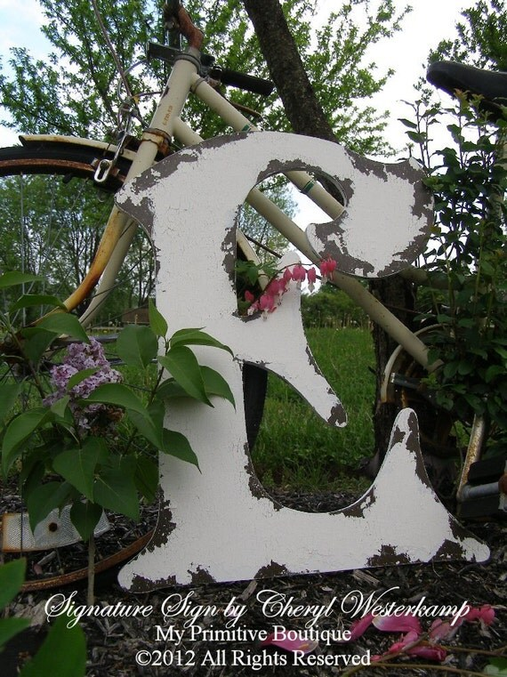 Large CUT OUT WOODEN Letter E, Shabby Chic Letters, Vintage Home Decor, Wedding Signs, 2 Feet Tall, Any Letter, Available, A through Z