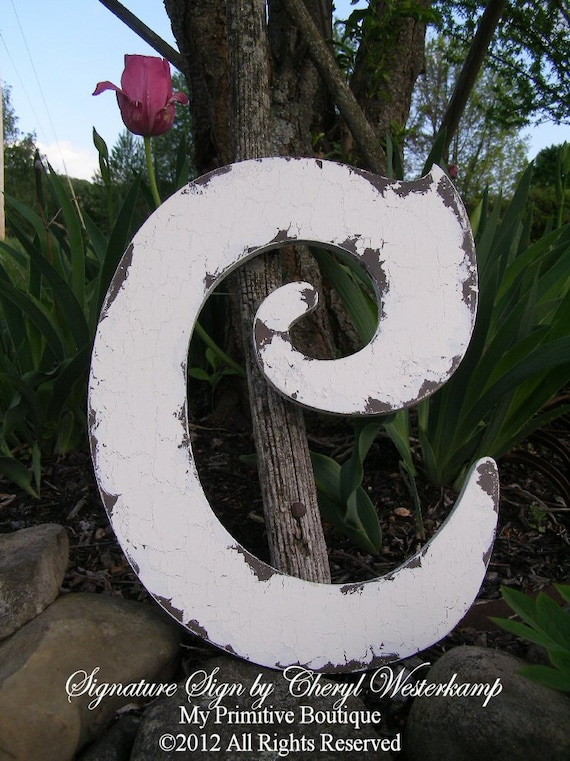 "Large Shabby Chic Wooden LETTER C, Cottage Decor, Choose Any Color, A B C D E F G H I J K L M N O P Q R S T U V W X Y Z, 16""  Tall"
