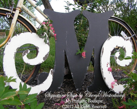 WOODEN  CUTOUT LETTER Special, Two 16 inch letters and One 24 inch letter, Distressed Letters,  Monogram, Initials, Wedding Decor