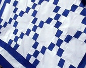 Blue and White Patchwork Pieced 9 Nine Patch Lap Throw Crib Irish Chain Quilt Top  PLUS - FREE SHIPPING with 2 or more items today.