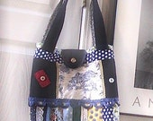 Denim Toile Patchwork Blue White Yellow Floral Homemade Tote Bag Purse