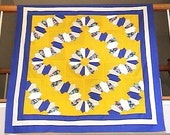 Sunny Yellow Blue and White Floral French Country Granny Fans Dresden Plate Lap Wall Throw Quilt Top - BUY IT TODAY - QuiltSALAD