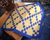 Royal Blue Yellow Single Irish Chain Crib Lap Baby Wheelchair Throw Wall Pieced Patchwork 9 Nine Patch Quilt Blocks Top