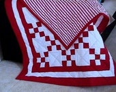 Red and White Quilted Irish Chain Bed, Crib, Lap, Wall, Throw, Toddler Quilt - PLUS - FREE SHIPPING with 2 or more items today.