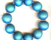 Turquoise VIntage Wooden Beads Stretch Bracelet