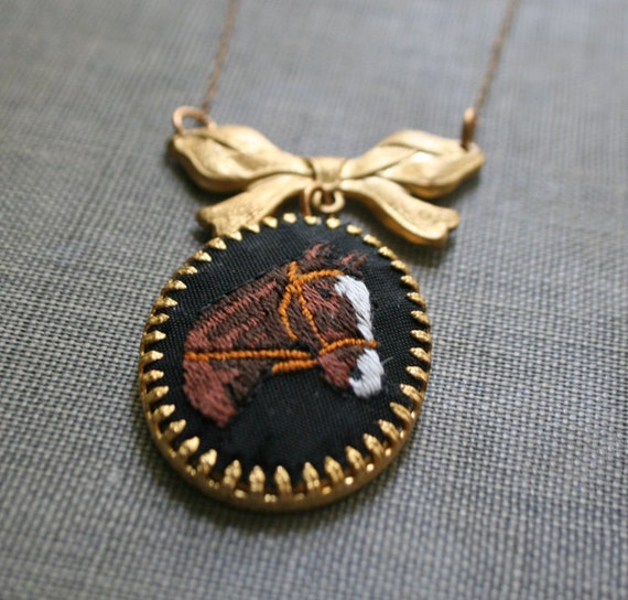 equestrian cameo - cross stitch vintage cameo necklace