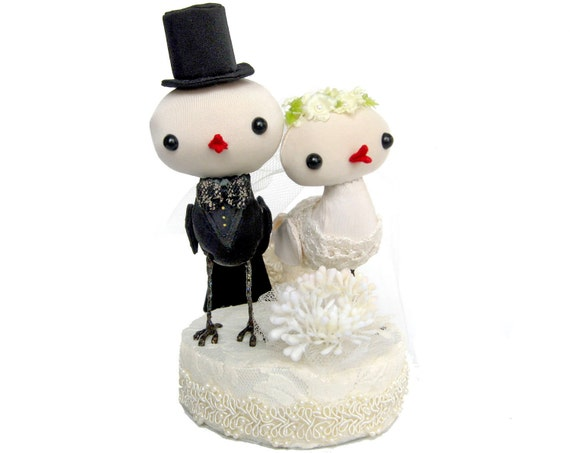 wedding cake toppers lovebirds - champagne and ivory - 4 inch medium