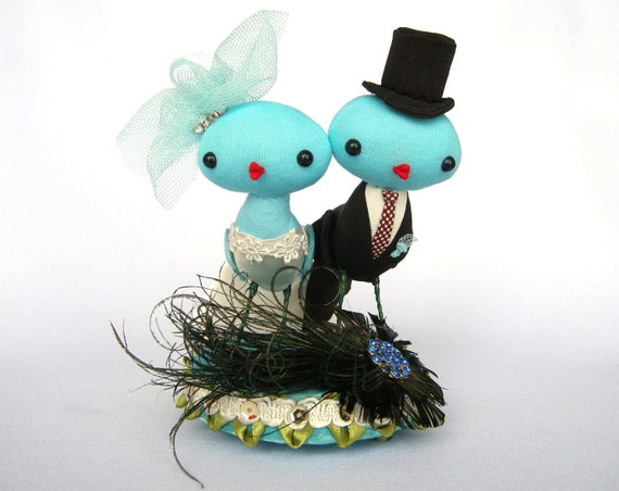 Love Birds Wedding Cake Topper Blue Teal Peacock By Cornflakegirl