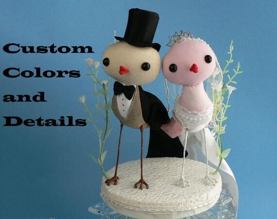 bird cake topper - custom order - Large or Medium fabric couture love birds