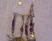 Vintage Purple and Gold-tone Celestial Ear Cuff