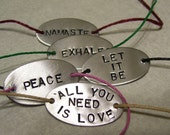Hand Stamped Hemp Tied Bracelet You Choose the Saying