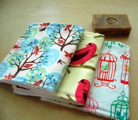 Birdie Wash Towels for Women and Children - Set of 3