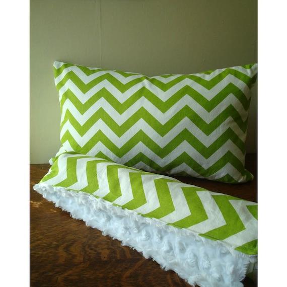 Warm Winter Blanket with Green Chevron Pattern - 30 x 30 - Chevron Blanket