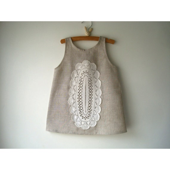 Fall Sale 10% Off  - Linen and Doily Dress -  Size 2T - Wedding Doily Sundress - Ready to Ship-