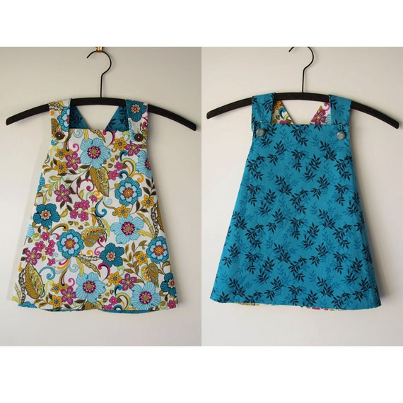 2 years to 3 years Smock- Reversible Style with Flowers and Leaves
