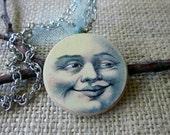 Vintage Moon Face Wooden Pendant Necklace