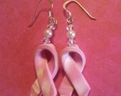 Pink Ribbon Pin and Earrings   FREE  SHIPPING