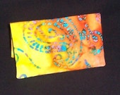 BATIK ORANGE AND YELLOW FABRIC CHECKBOOK COVER  FREE SHIPPING