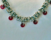 Byzantine chainmail anklet in aluminum and glass