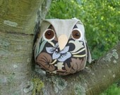 Owl softie toy vintage fabric