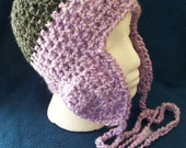 Black and Lilac Purple SKI SNOWBOARD BEANIE HAT With Ear Flaps