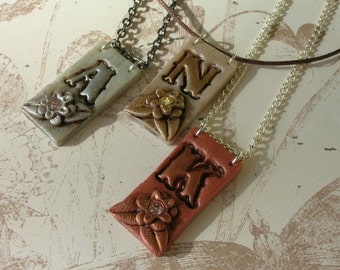 Urban Cowgirl- Custom Letter Monogram Personalized Initial Necklace with flower and crystal
