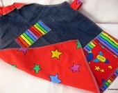 kids NO TIE denim lined apron 3 to 7 yr old boy rocket theme