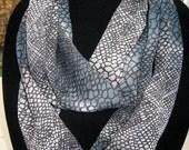 Infinity Circle double loop Scarf print sheer blue/greys snake skin