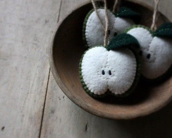 green wool apple ornament