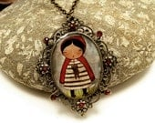 LITTLE RED RIDING HOOD-- Original Handmade Ox Brass Jewelry Pendant Medallion Necklace Cameo by Danita