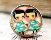 Gemini (friends, sisters) - Original Handmade Big Copper Adjustable Ring Jewelry by Danita