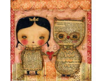 I Will OWLways Love you - Valentines  Owl Print from Mixed Media Woodland Painting by Danita - (8X8 INCHES)