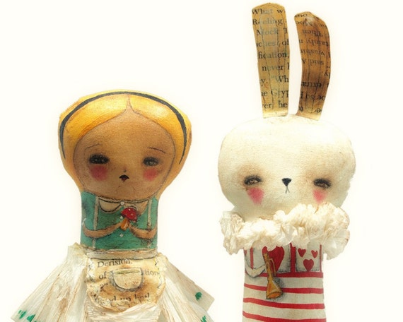 Alice And The White Rabbit - Original Mixed Media Alice In Wonderland Hadmande Art Dolls by Danita Art - (8.5 INCHES TALL)