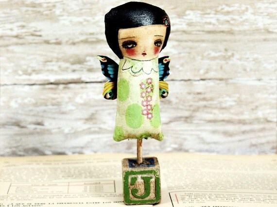 Gen The Spring Fairy - Original Mixed Media Fabric Collage Art Doll On Wood (7 x 3 x 1.5)